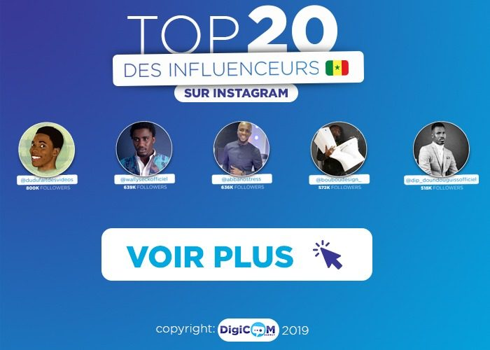 TOP 20 des influenceurs Instagram au Senegal
