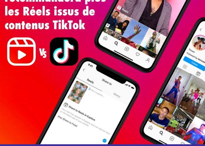 Instagram ne recommandera plus les Reels issus de contenus TikTok
